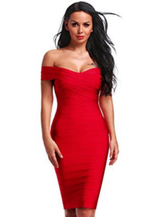Red Classic Off the Shoulder Midi Bandage Dress
