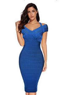 Royal Blue Classic Off the Shoulder Accent Strap Midi Bandage Dress