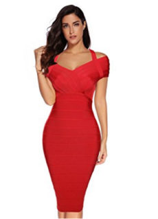 Red Classic Off the Shoulder Accent Strap Midi Bandage Dress