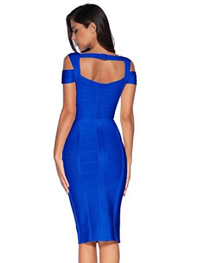 Royal Blue Classic Off the Shoulder Accent Strap Open Back Midi Bandage Dress