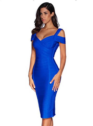 Royal Blue Classic Off the Shoulder Accent Strap Open Back Midi Bandage Dress