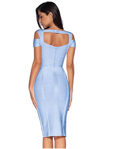 Light Blue Classic Off the Shoulder Accent Strap Open Back Midi Bandage Dress