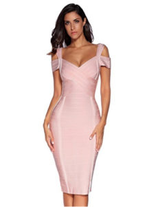 Light Pink Classic Off the Shoulder Accent Strap Open Back Midi Bandage Dress