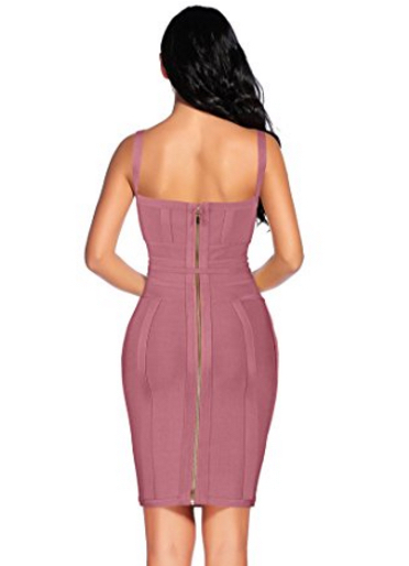 Mauve Antique Pink Corset Style, Tie Waist Detail Bandage Dress
