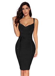 Black Little Corset Style, Tie Waist Detail Bandage Dress