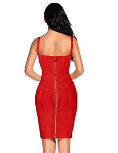 Red Corset Style, Tie Waist Detail Bandage Dress