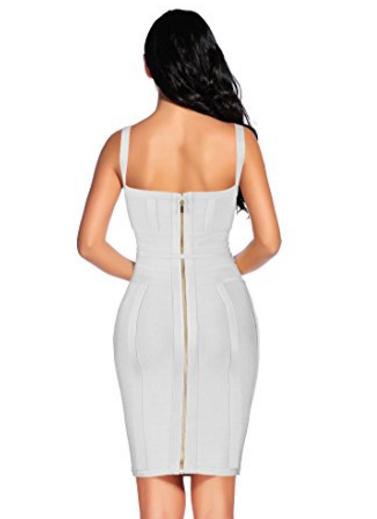 White Corset Style, Tie Waist Detail Bandage Dress