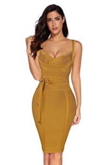 Olive Corset Style, Tie Waist Detail Bandage Dress
