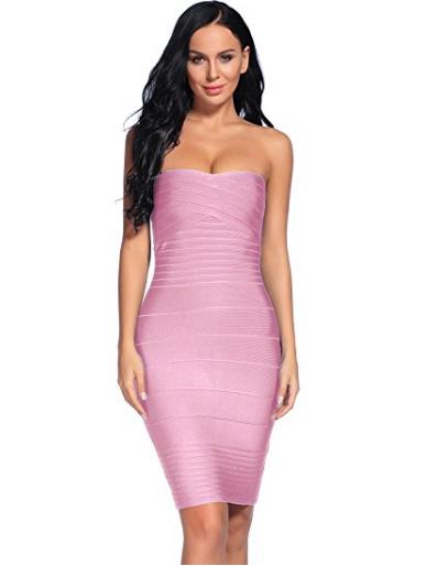Light Pink Classic Strapless Cross Bust Mini Bandage Dress