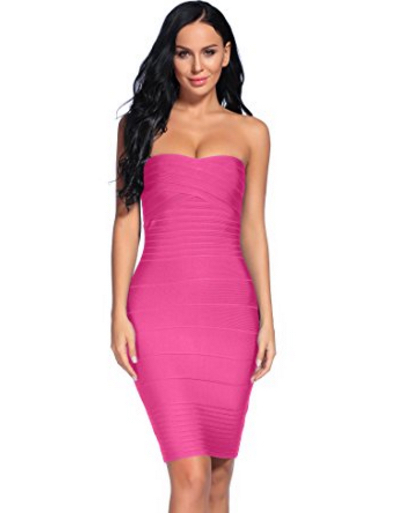 Dark Pink Classic Strapless Cross Bust Mini Bandage Dress
