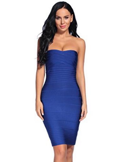 Blue Classic Strapless Cross Bust Mini Bandage Dress