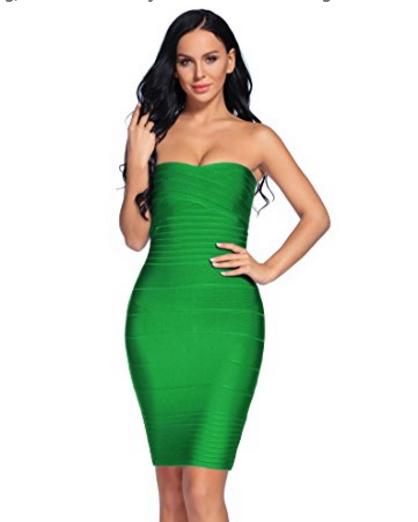 Green Classic Strapless Cross Bust Mini Bandage Dress