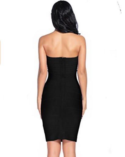 Black Classic Strapless Cross Bust Mini Bandage Dress