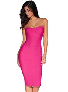 Dark Pink Classic Strapless Cross Bust Midi Bandage Dress