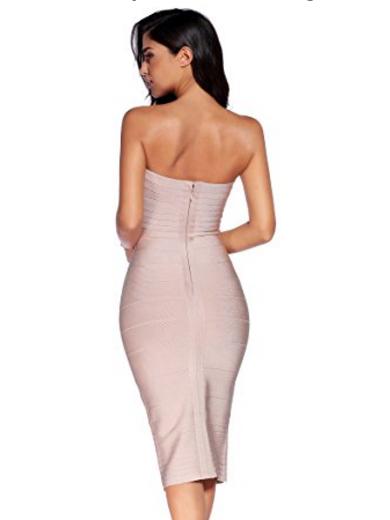 Beige Classic Strapless Cross Bust Midi Bandage Dress