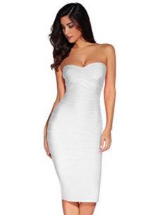 White Classic Strapless Cross Bust Midi Bandage Dress