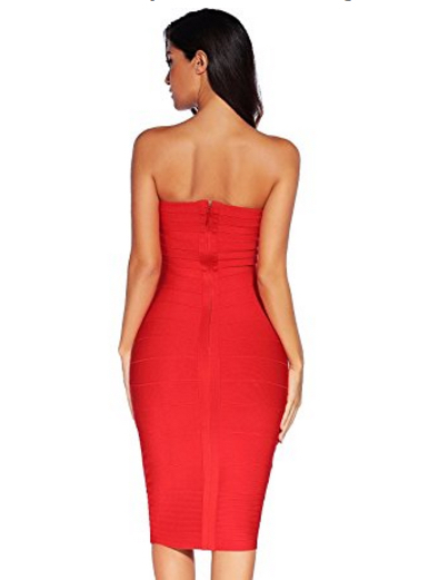 Red Classic Strapless Cross Bust Midi Bandage Dress