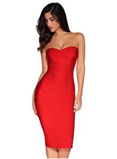 Red Classic Strapless Cross Bust Midi Bandage Dress