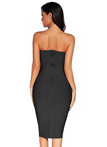 Black Classic Strapless Cross Bust Midi Bandage Dress