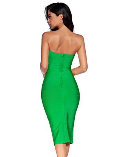 Green Classic Strapless Cross Bust Midi Bandage Dress