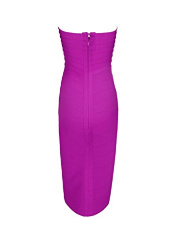 Purple Classic Strapless Cross Bust Midi Bandage Dress