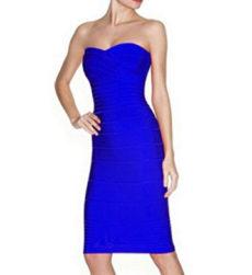 Blue Classic Strapless Cross Bust Midi Bandage Dress