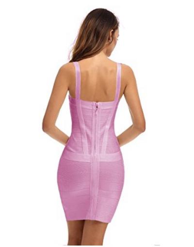 Pink Sweetheart Neckline Classic Celeb Inspired Mini Bandage Dress