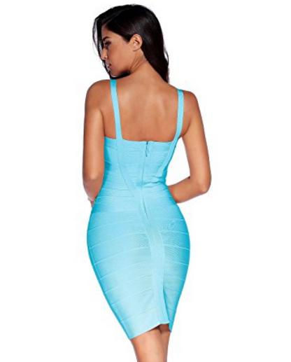 Light Blue Sweetheart Neckline Classic Celeb Inspired Mini Bandage Dress
