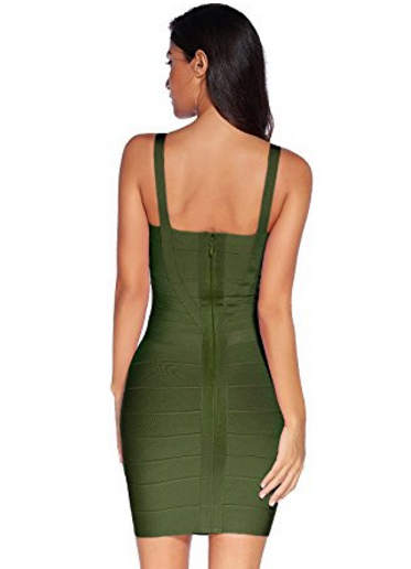 Olive Green Sweetheart Neckline Classic Celeb Inspired Mini Bandage Dress