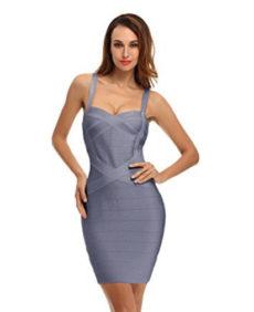 Gray Sweetheart Neckline Classic Celeb Inspired Mini Bandage Dress