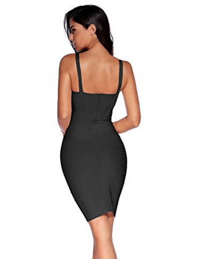 Black Sweetheart Neckline Classic Celeb Inspired Mini Bandage Dress