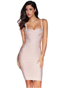 Beige Sweetheart Neckline Classic Celeb Inspired Mini Bandage Dress