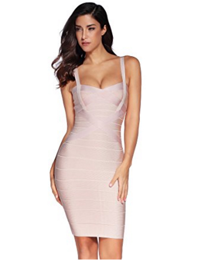 Beige Sweetheart Neckline Classic Celeb Inspired Mini Bandage Dress