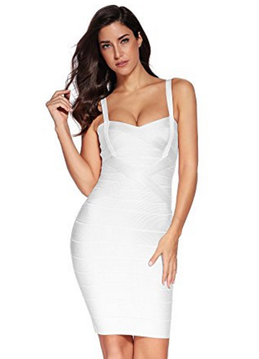 White Sweetheart Neckline Classic Celeb Inspired Mini Bandage Dress