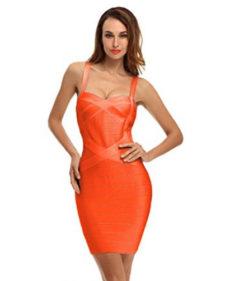 Orange Sweetheart Neckline Classic Celeb Inspired Mini Bandage Dress