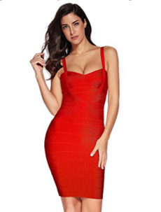 Red Sweetheart Neckline Classic Celeb Inspired Mini Bandage Dress
