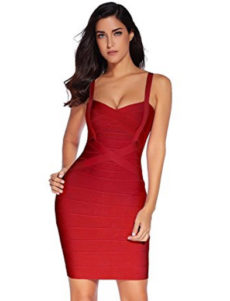 Wine Red Sweetheart Neckline Classic Celeb Inspired Mini Bandage Dress