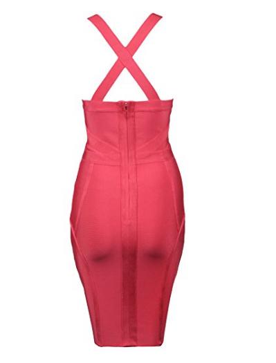 Pink Cross Bust Versatile Straps Halter Mini Bandage Dress