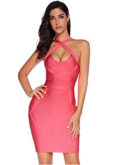 Pink Cross Bust Versatile Straps Halter Mini Bandage Dress