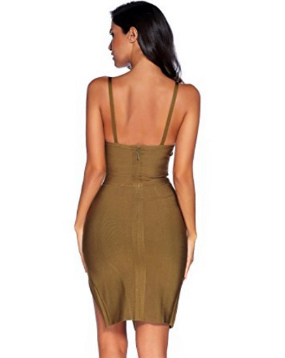 Olive Green High Slit Strappy Celeb Inspired Bandage Dresss