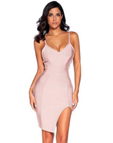 Rose Nude High Slit Strappy Celeb Inspired Bandage Dress