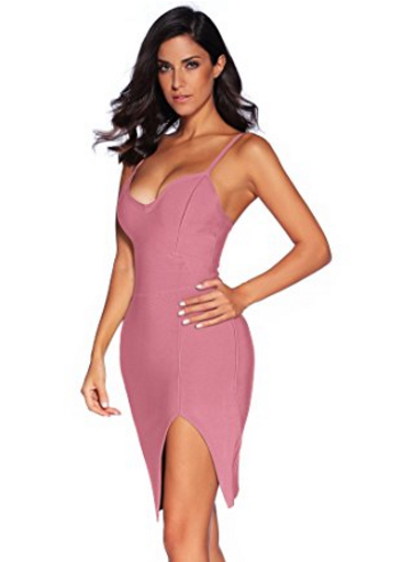 Mauve Pink High Slit Strappy Celeb Inspired Bandage Dress