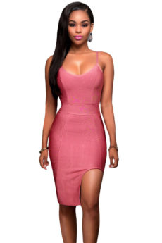 Dusty Rose Pink High Slit Strappy Celeb Inspired Bandage Dress