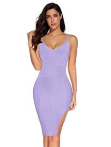 Purple High Slit Strappy Celeb Inspired Bandage Dress