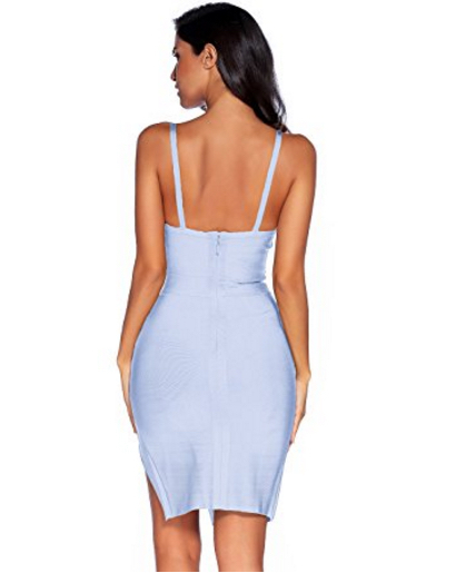 Baby Blue High Slit Strappy Celeb Inspired Bandage Dress