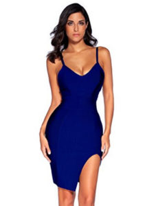 Navy Blue High Slit Strappy Celeb Inspired Bandage Dress
