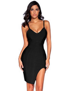 Black High Slit Strappy Celeb Inspired Bandage Dress