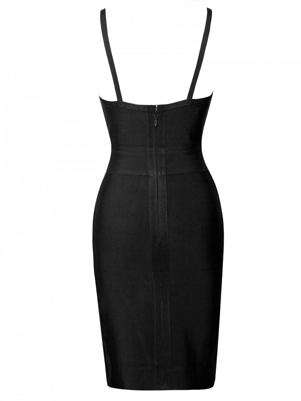 Black High Slit Strappy Celeb Inspired Bandage Dress