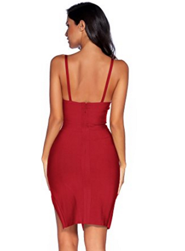 Wine Red High Slit Strappy Celeb Inspired Bandage Dress