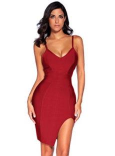 Wine Red High Slit Strappy Celeb Inspired Bandage Dress